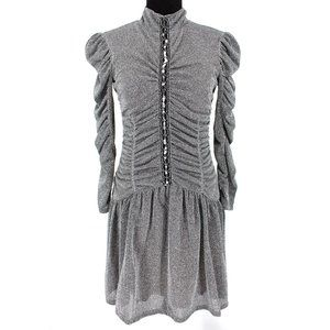 Rebecca Taylor Ruched Metallic Silver Sequin Dress